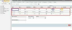 create table add column php mysql